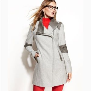CalvinKlein Gray Colorblock Faux Leather Trim Coat